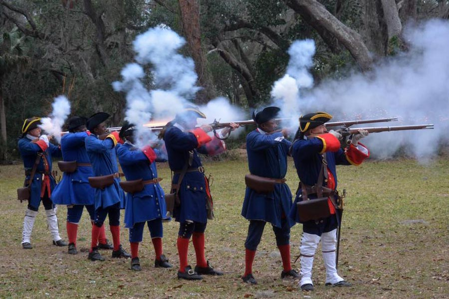 Fort Mose Militia firing black powder muskets
