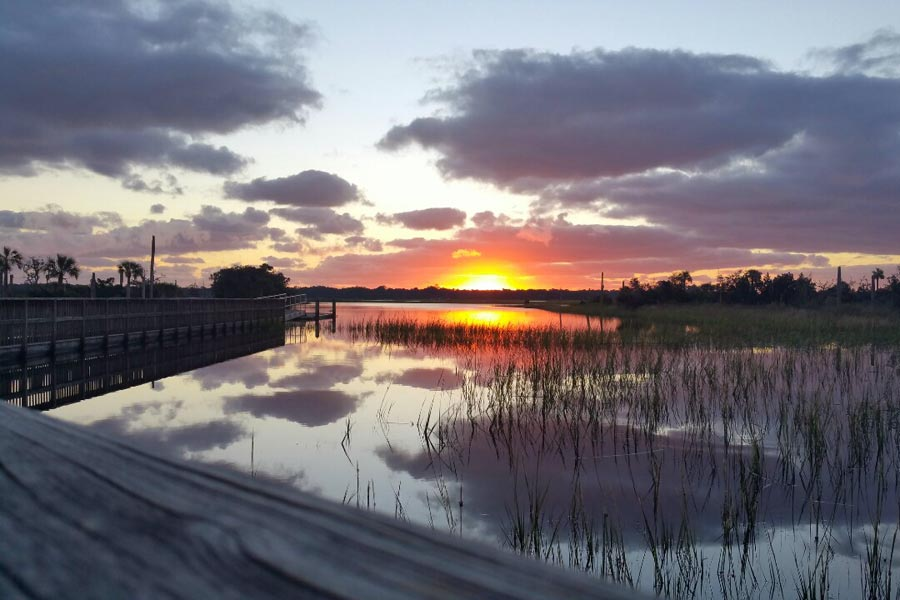 Castaway Island Preserve sunset over the boardwalk